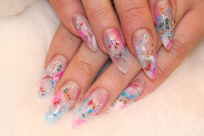 дизайн ногтей аквариумный сухоцветы